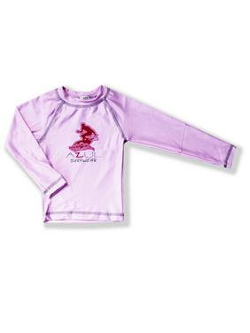 0d0019bafdc582 Product Image Azul Little Girls Pink Solid Logo Detail Long Sleeve UPF 50+  Rash Guard