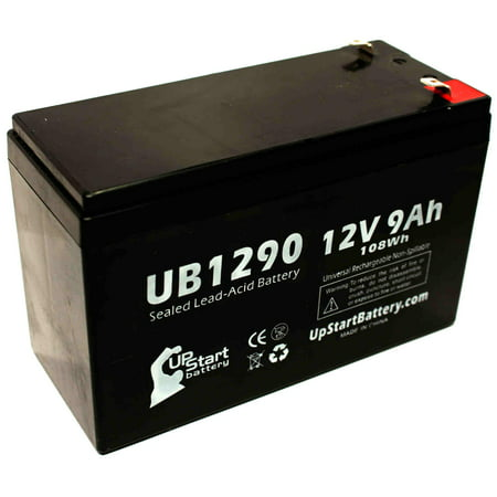 Compatible EFI LanGuard 675 Battery - Replacement UB1290 Universal Sealed Lead Acid Battery (12V, 9Ah, 9000mAh, F1 Terminal, AGM, SLA) - Includes TWO F1 to F2 Terminal Adapters