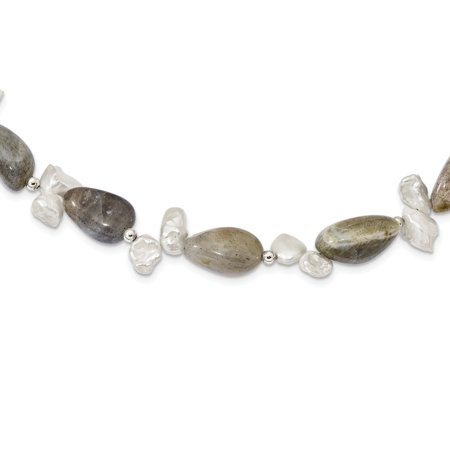 Keshi Keishi Pearl (Solid 925 Sterling Silver Labradorite & FWC Keshi Simulated Pearl with 2in Ext. Fancy Necklace Chain 18