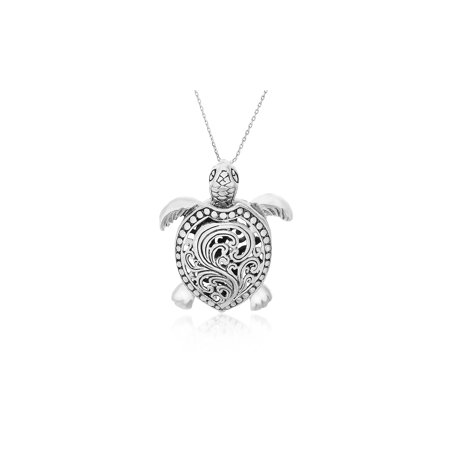 Textured Sea Turtle Pendant in Oxidized Sterling Silver