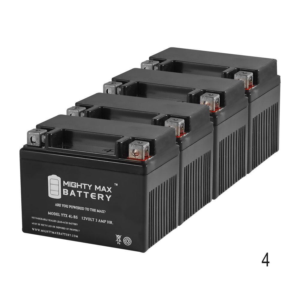 YTX4L-BS Replaces 1989-90 Yamaha CW50 Zuma Deep Cycle Battery - 4 Pack