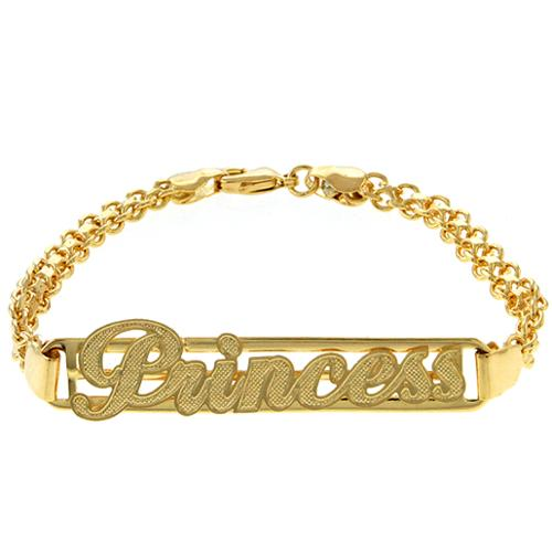 """Stunning 7.5"""" Yellow Gold Plated """"Princess"""" Engraved Tag ID Bracelet"""