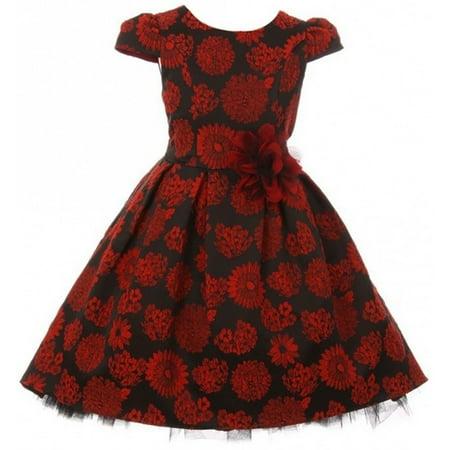 Little Girls Cap Sleeve Peek A Boo High Low Christmas Holiday Flower Girl Dress Red 4 (K40D4) (Peep Dress)