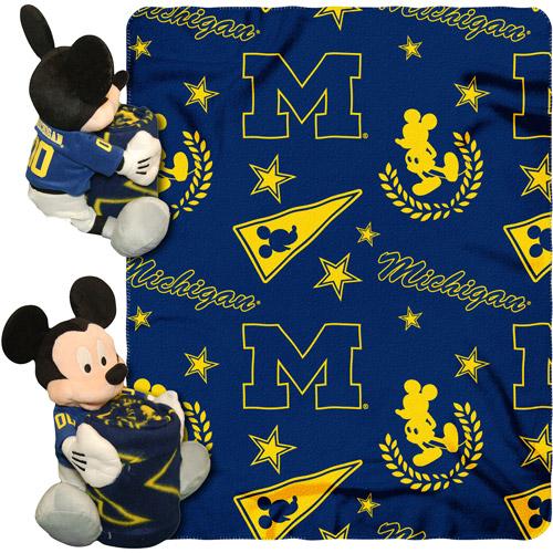 "Disney NCAA Hugger Pillow and 40"" x 50"" Throw Set, Michigan Wolverines"