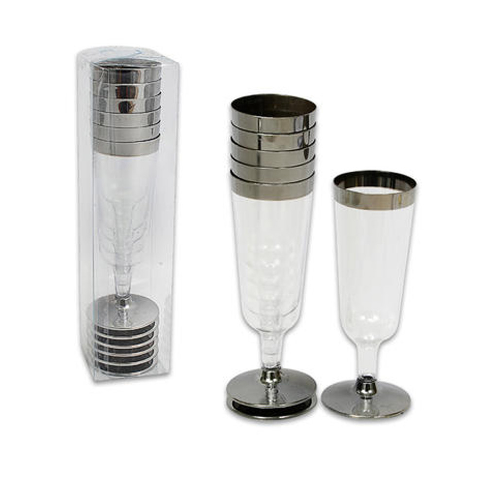 12 Pc Plastic Champagne Flute Wedding Party Silver Rimmed Disposable Wine Glass by 4SGM