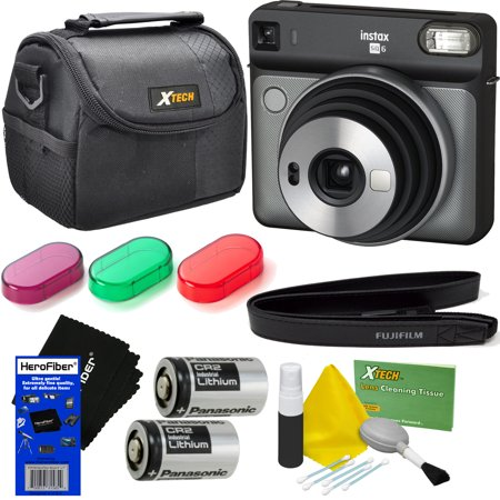Fujifilm instax Square SQ6 Instant Film Camera (Graphite Gray) + 3 Color Filters + Carrying Case + 2 Batteries + Strap + HeroFiber Ultra Gentle Cleaning Cloth ()