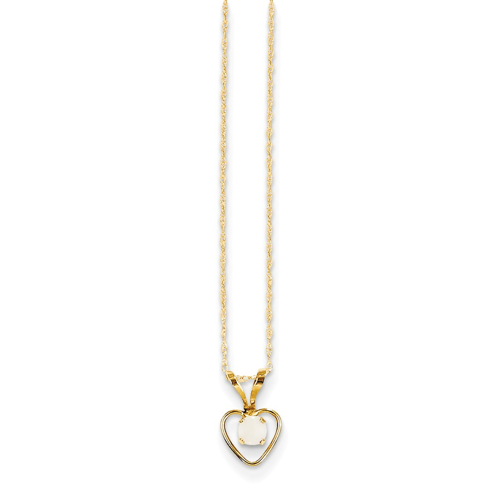 """14K Yellow Gold Madi K 3mm Opal Heart Necklace -15"""" (15in x 1mm) by"""