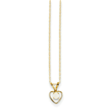 14K Yellow Gold Madi K 3mm Opal Heart Necklace -15
