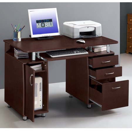 Bookcase Secretary Desk - Ktaxon Brown Computer PC Desk Home Office Study Writing Table 3 Drawers Bookcase