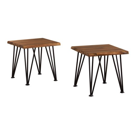 Zahir Outdoor Industrial Rustic Finished Iron and Acacia Wood Accent Table, Set of 2, Teak