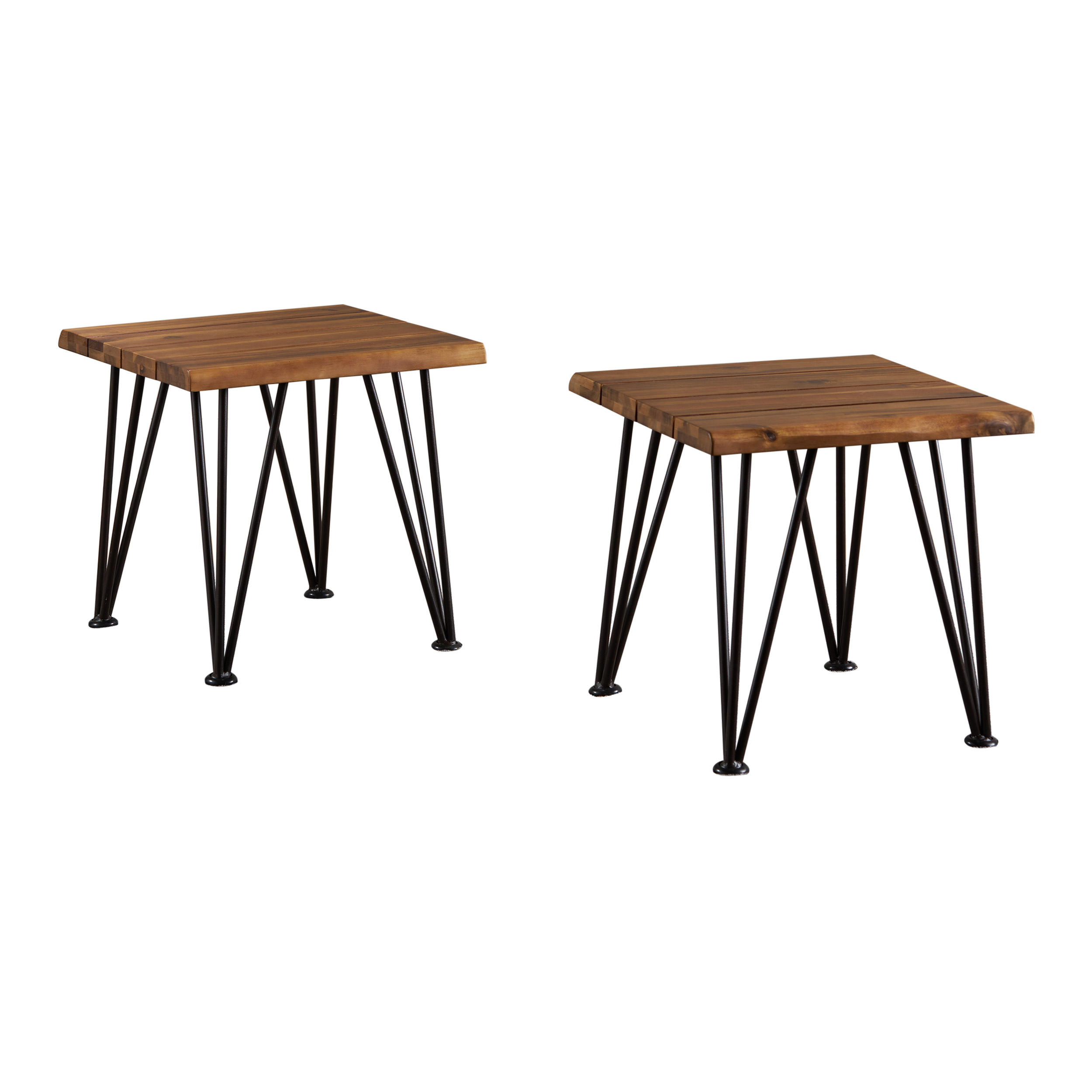 Zenith Outdoor Industrial Accent Table, Set of 2, Teak Finish, Rustic Metal