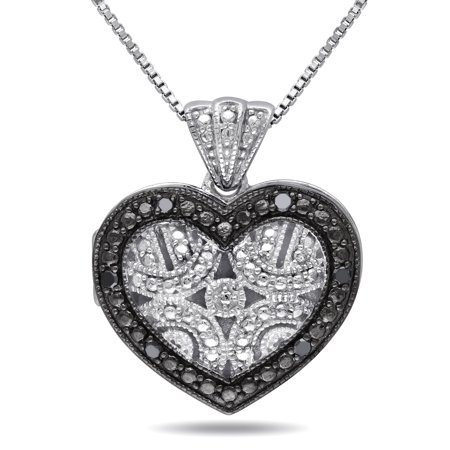 Sterling Silver Black Diamond Accent Heart Locket Necklace