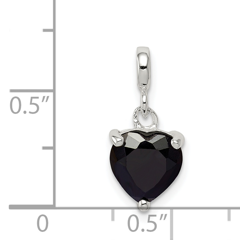 925 Sterling Silver Black Cubic Zirconia Cz Heart Enhancer Necklace Pendant Charm Love Fine Jewelry Gifts For Women For Her - image 1 de 2