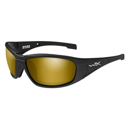 Wiley X WX Boss Men's Sunglasses, Polarized Venice Gold Mirror (Amber) Lens / Matte Black Frame - (Wiley X Polarized Fishing Sunglasses)