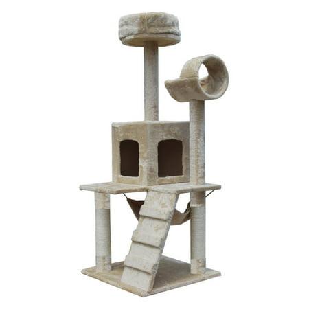 Boomer & George Whiskers 52 in. Cat Tree - Beige (Cat Whiskers Makeup Halloween)