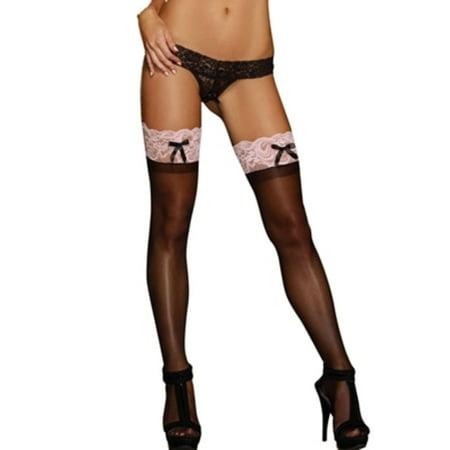 5061aaa28e4 Dreamgirl - Dreamgirl Sheer   Lace Thigh High 0026 Black Pink