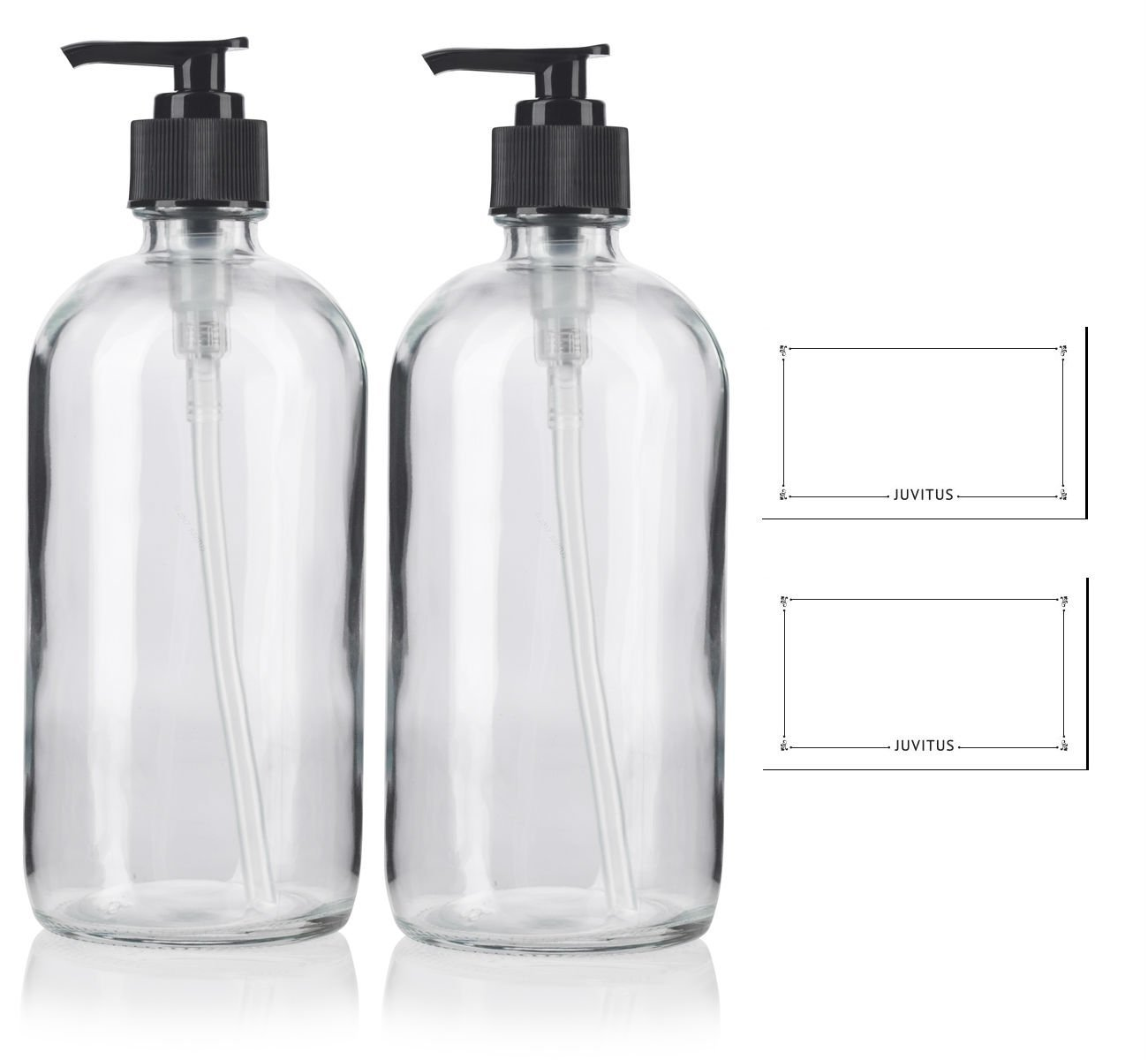 8 oz Clear Boston Round Thick Plated Glass Bottle with Black Lotion Pump (2 Pack)+ Labels - Perfect for Home, Cleaning, Cooking, Essential Oils, DIY, Gifts