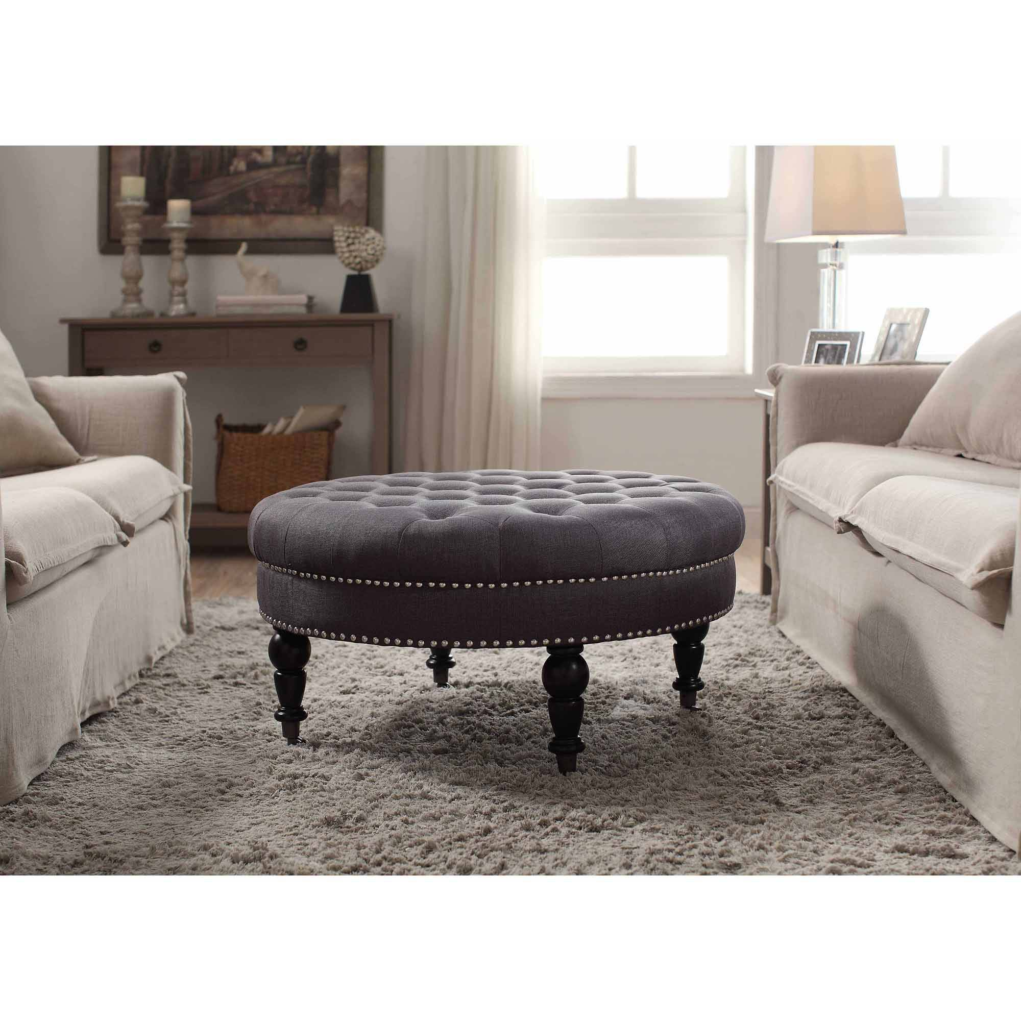 linon isabelle round tufted ottoman, multiple colors - walmart