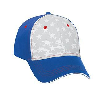 otto star pattern w/ contrast stitching 6 panel low profile baseball cap - ryl/wht/ryl - Baseball Stitching