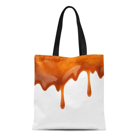 SIDONKU Canvas Tote Bag Brown Toffee Sweet Caramel Sauce Drip Syrup Calories Candy Durable Reusable Shopping Shoulder Grocery Bag