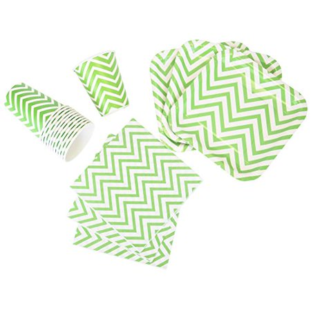 Just Artifacts Disposable Party Tableware 44 Pieces Chevron Pattern Dining Set (Square Plates, Cups, Napkins) - Color: Green Apple - Decorative Tableware for Parties, Baby Showers, and Life Celebratio - Baby Green Color