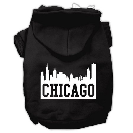 Black Pet Screen - Mirage 62-66 XXLBK Chicago Skyline Screen Print Pet Hoodie Black - Size 2XL