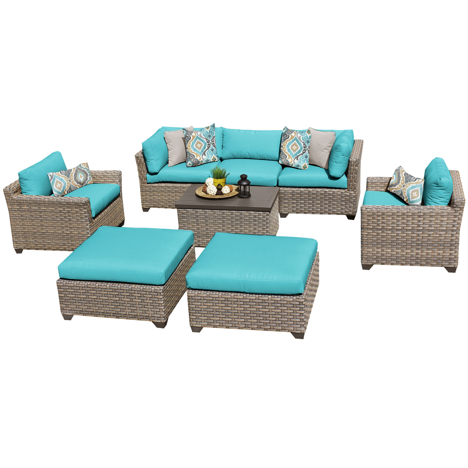 Hampton 8 Piece Outdoor Wicker Patio Furniture Set 08a