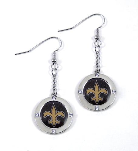New Orleans Saints Round Crystal Dangler Earrings