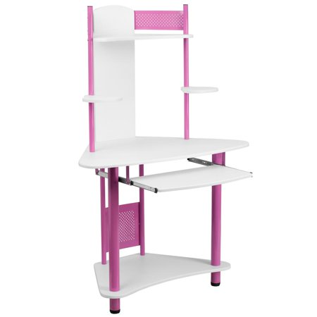 Pink Corner Computer Desk with Hutch ()