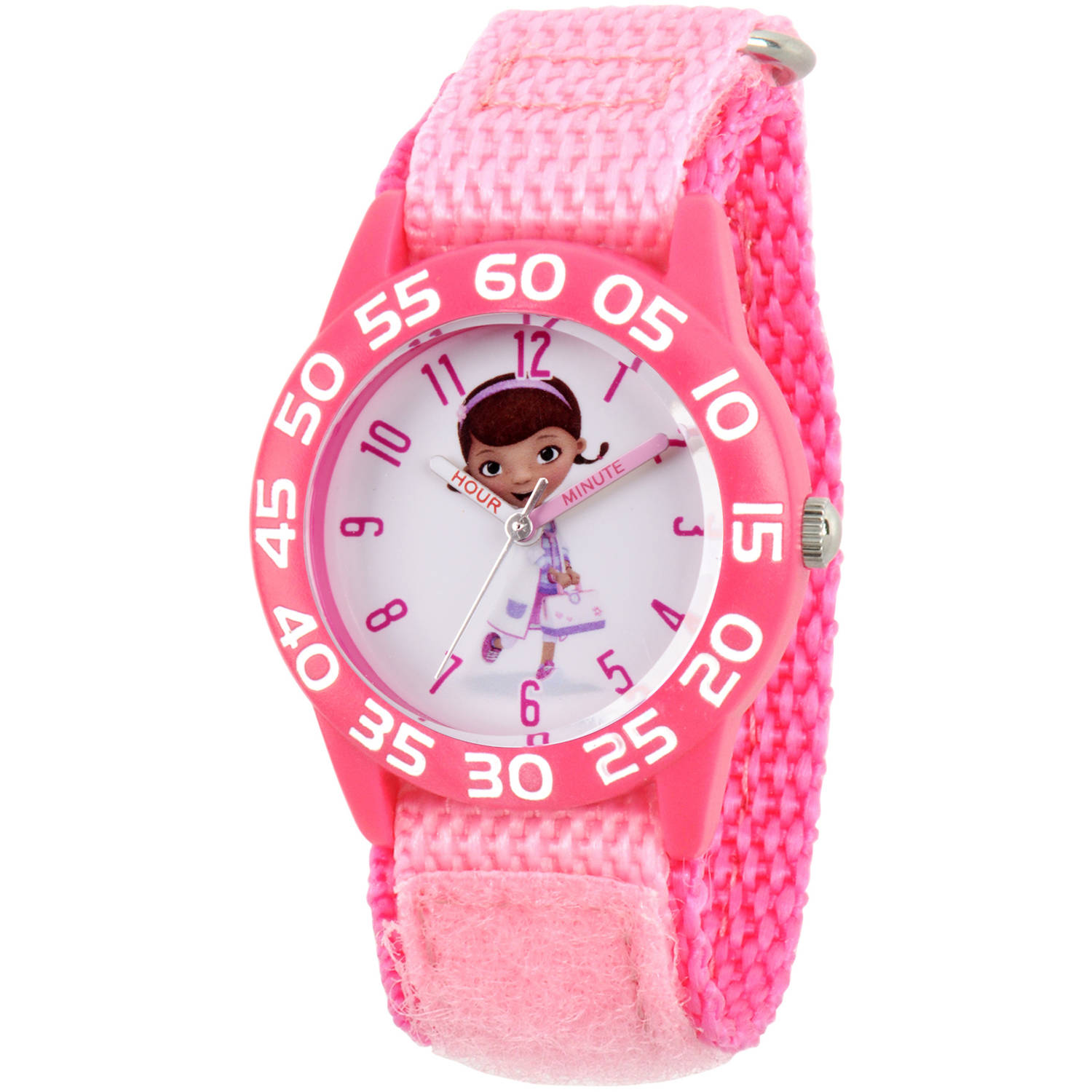 Doc Mcstuffins Girls' Pink Plastic Time Teacher Watch, Pink Hook and Loop Nylon Strap