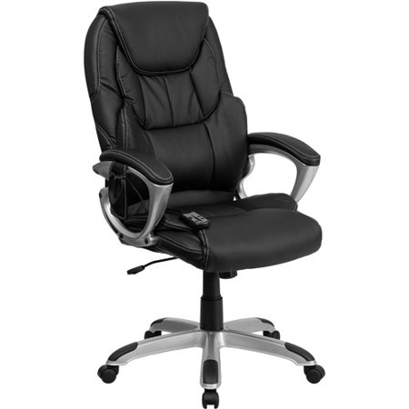 Flash Furniture High Back Massaging Leather Executive Office Chair with  Silver Base  BlackFlash Furniture High Back Massaging Leather Executive Office Chair  . Silver Office Chair. Home Design Ideas