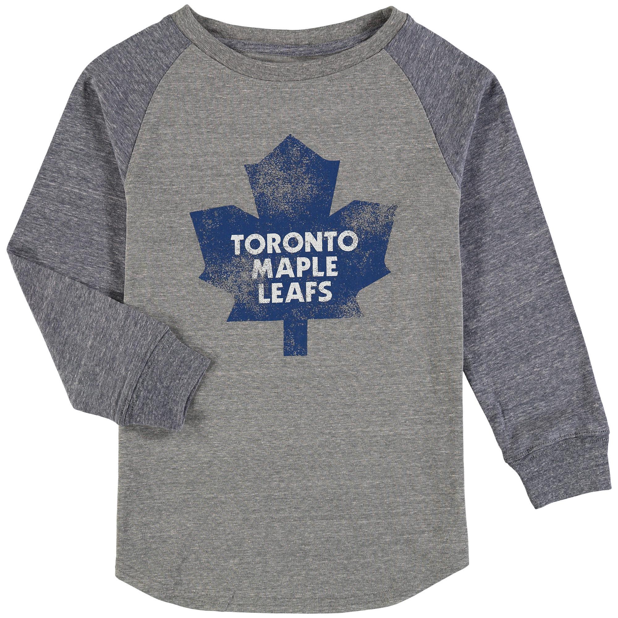 Toronto Maple Leafs Fanatics Branded Youth Distressed Alternate Long Sleeve Raglan Tri-Blend T-Shirt - Heathered Gray