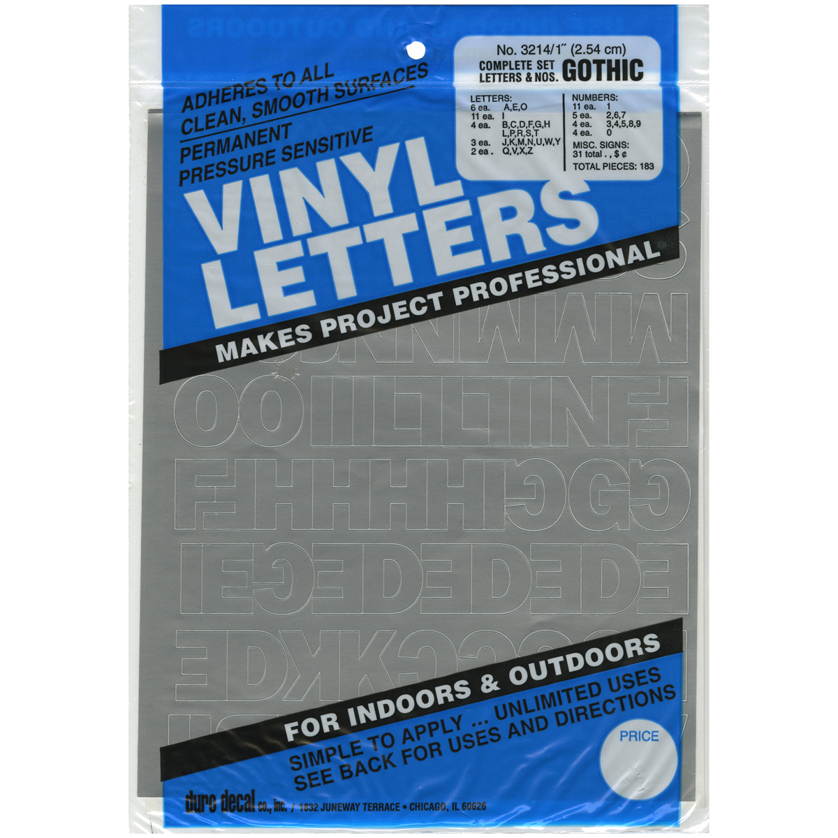 "Permanent Adhesive Vinyl Letters & Numbers 1"" 183pk, Silver"
