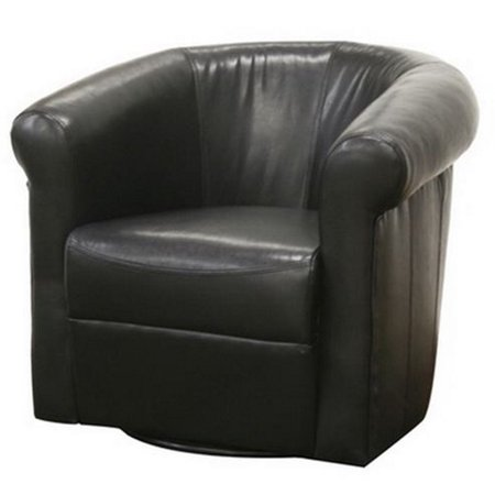 Julian Black Brown Faux Leather Club Chair with 360 Degree Swivel Eco Leather Club Chair