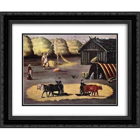 Niko Pirosmani 2x Matted 24x20 Black Ornate Framed Art Print 'Threshing the floor in a Georgian country village' ()