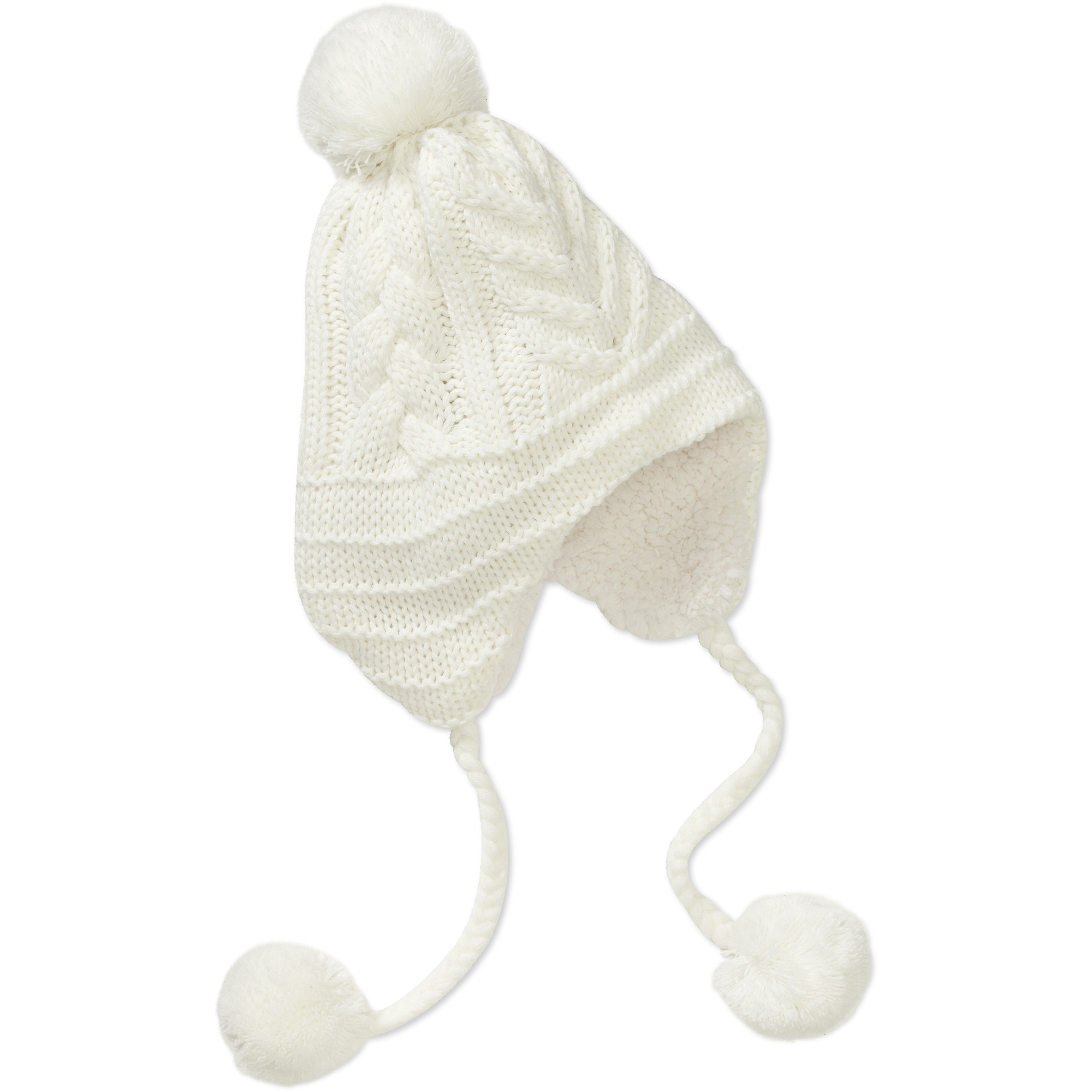 Dearfoams Women's Chunky Cable Earflap Hat with Faux-Sherpa Lining