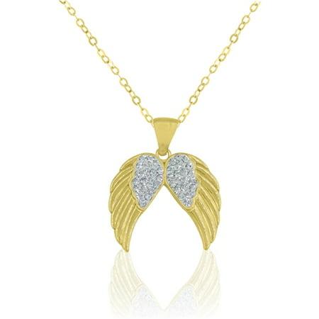 Sterling Silver 18 Karat Yellow Gold Plating Crystal Angel