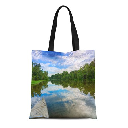 JSDART Canvas Tote Bag Front of Boat on River in the Amazon Rain Durable Reusable Shopping Shoulder Grocery Bag - image 1 of 1