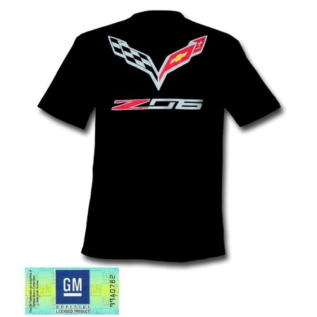 C7 Corvette Stingray Z06 with Crossed Flags T-shirt : Black (X-Large)