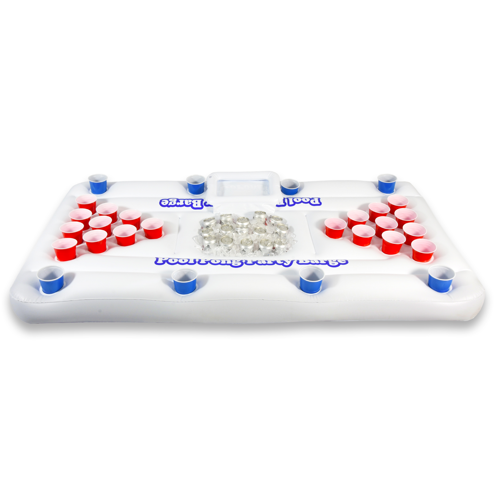 GoPong Inflatable Swimming Pool Party Barge Floating Beer Pong Drinking Table with Cooler, White, 6' Float