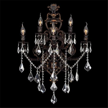 06 Flemish Finish - Versailles Collection 5 Light Flemish Brass Finish with Clear Crystal Wall Sconce