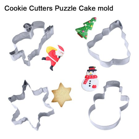 4PCS Cookie Cutters Sets, Christmas Tree Snowflake Snowman Santa Claus For Handmade Cookies - Snowflake Cookie