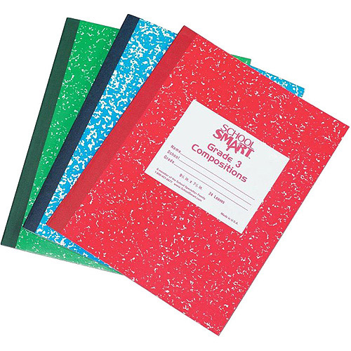 "School Smart Skip-A-Line Composition Book, Grade 3, 9.75"" x 7.75"", Red, 24 Sheets"