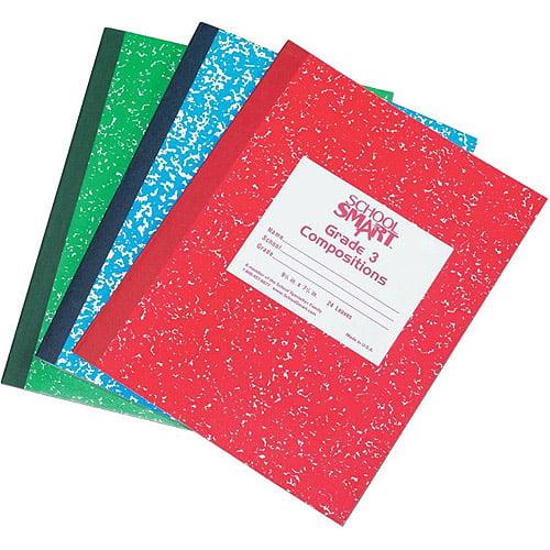 "School Smart Skip-A-Line Composition Book, Grade 3, 9.75"" x 7.75"", Red, 24 Sheets"