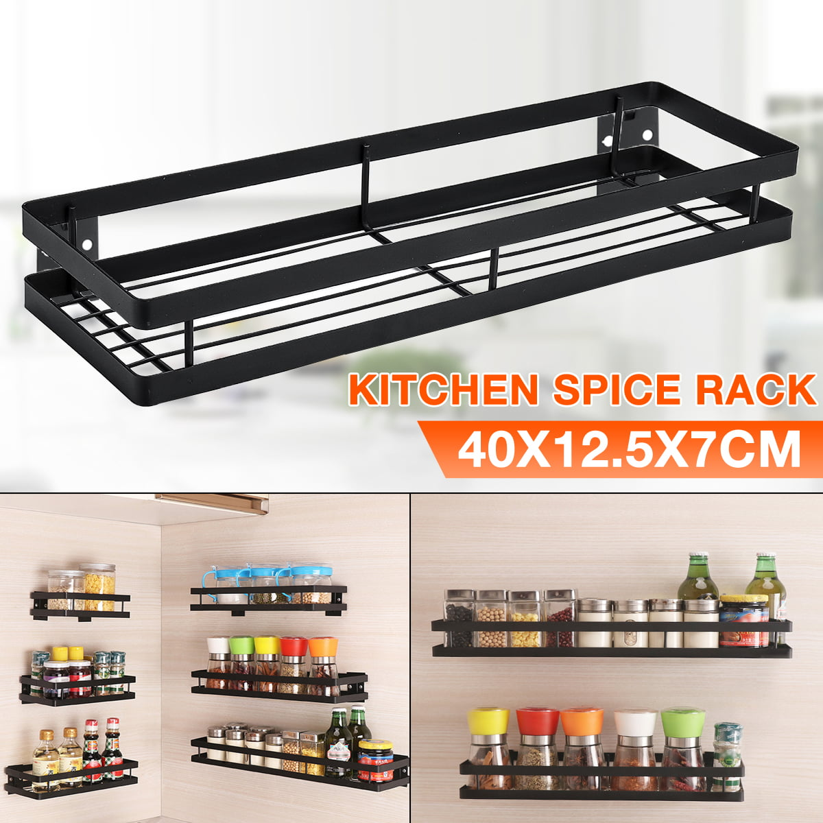 2 Pack Single Tier Wall Mounted Stainless Steel Spice Rack