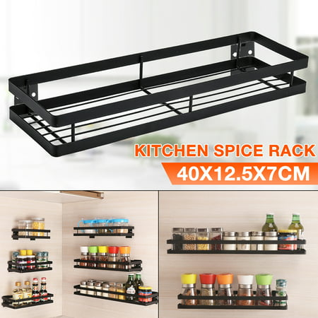 Black Single Tier Country Stainless Steel Spice Rack, Cabinet, Wall, Or Pantry Mount - Easily Mounted