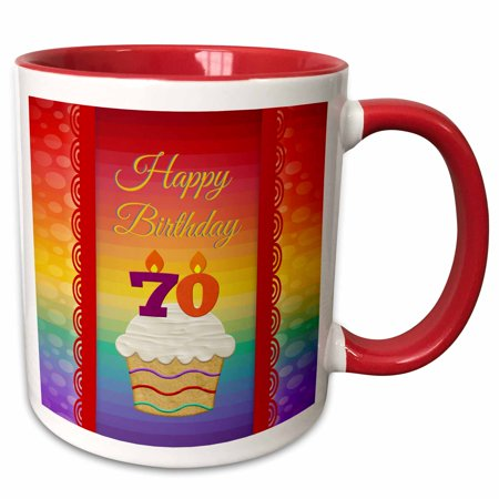 3dRose Cupcake with Number Candles, 70 Years Old Birthday - Two Tone Red Mug, 11-ounce
