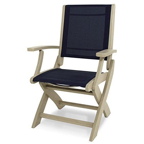 Polywood 9000-SA902 Coastal Sand and Navy Blue Sling Folding Chair