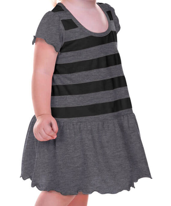 Kavio! Infants Girls Striped Jersey Scoop Neck Flutter Sleeve Dress Striped Heather/Black 24M