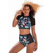 Women Swimwear Tankini Swimsuit Celebrity Lace Hollow Floral Print Swimsuit for Women (multicolor, small)